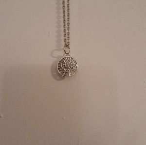 Silver tree pendant necklace